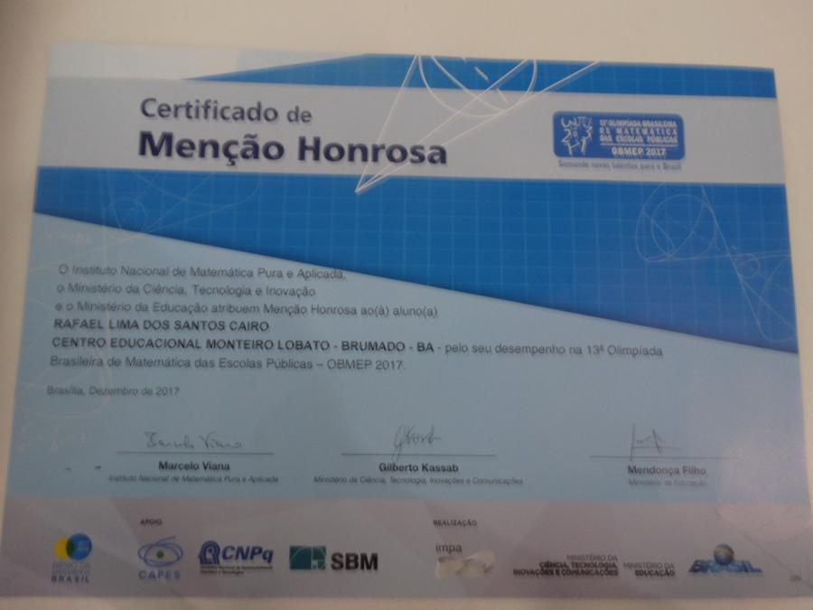 Alunos receberam Menção Honrosa da OBMEP