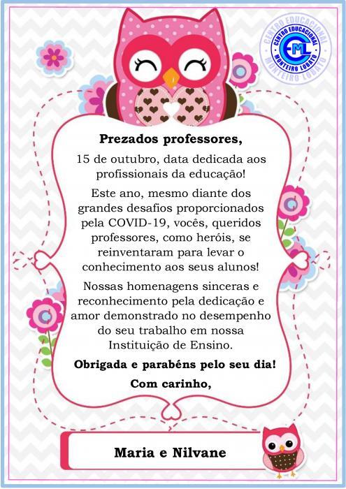 PARABÉNS, QUERIDOS PROFESSORES!